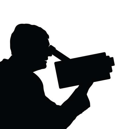 videographer: man with camera black vector Illustration