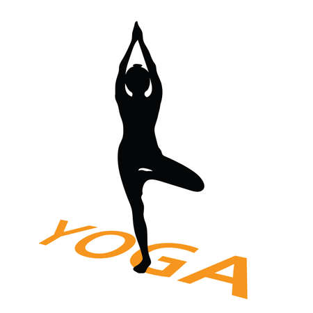 actual: yoga with girl vector illustration