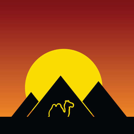 bedouin: camel and pyramids color vector illustration in night Illustration