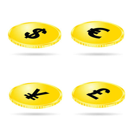 set of money: coin set money gold vector