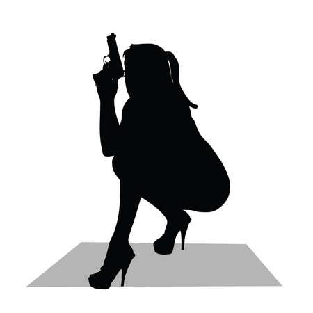 girl with gun vector silhouette Vector