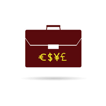 suitcase with money color vector Vector