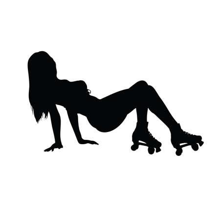 rollerblade: girl in roller skates vector silhouette illustration