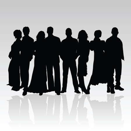 listeners: people black vector silhouette illustration