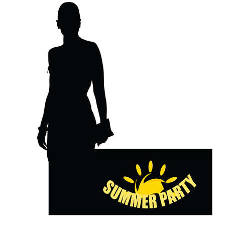 summer party with girl yellow vector Vector