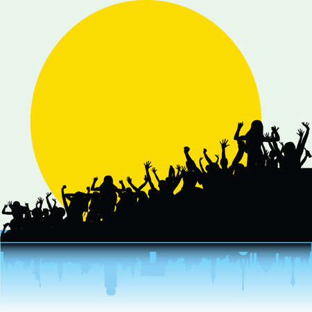 paradise place: party people on paradise place color vector