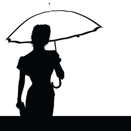 sexy umbrella: lady with umbrella vector illustration