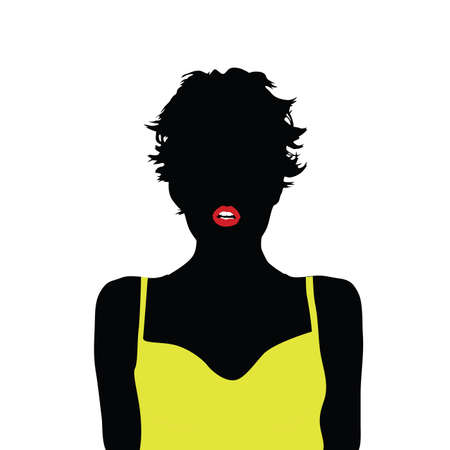 yellow shirt: girl with yellow shirt vector illustration