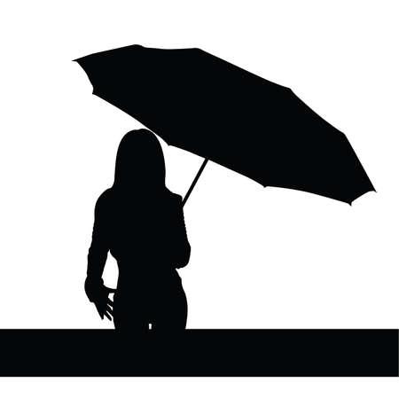 sexy umbrella: girl with umbrella black vector art illutration Illustration