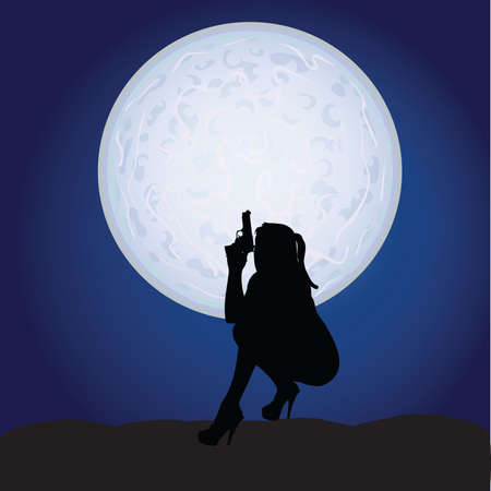 girl with gun: girl sexy with gun on moonlight art vector Illustration