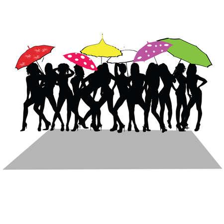sexy umbrella: girl sexy with umbrella color vector Illustration
