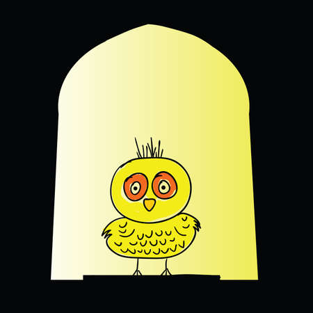 dubious: chicken yellow vector illustration