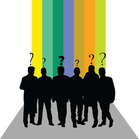 listeners: people silhouette with question mark color vector illustration