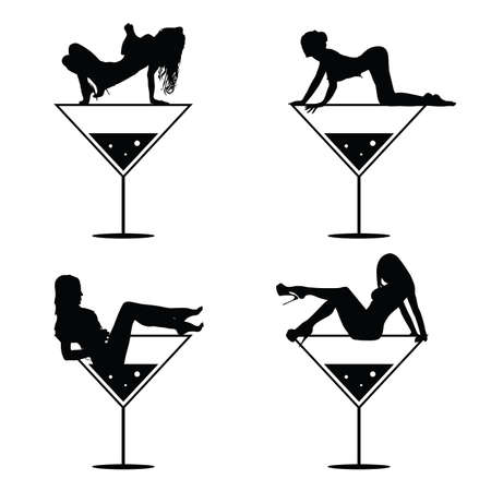 girl and martini black vector silhouette on white
