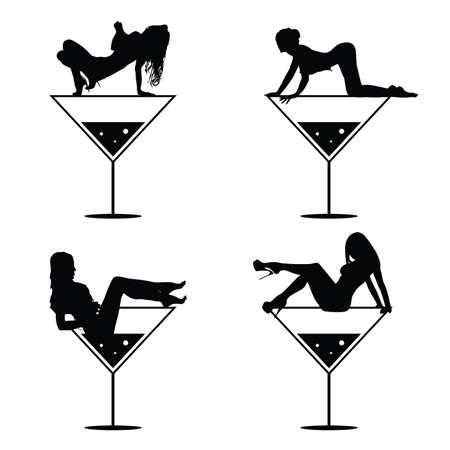 girl and martini black vector silhouette on white Illustration