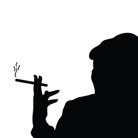 black woman: woman with cigarette black vector silhouette Illustration