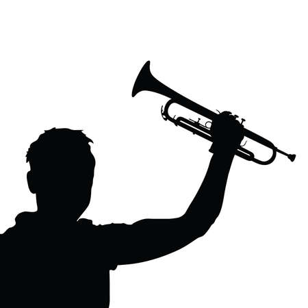 blacks: man with trumpet black vector silhouette Illustration