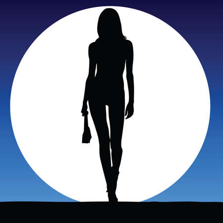 sexy black woman: girl sexy on a moonlight color vector silhouette Illustration