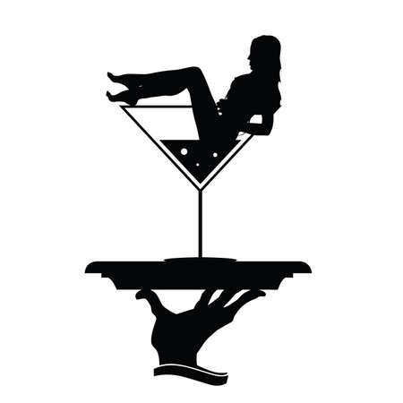 girl glasses: girl and martini in hand black vector silhouette Illustration