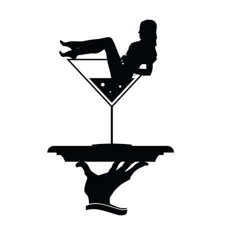 girl and martini in hand black vector silhouette Illustration