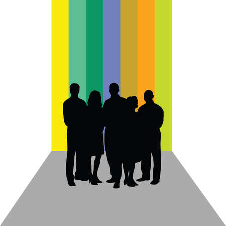 listeners: business people vector silhouette on colorful