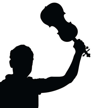 fiddlestick: man with violin vector silhouette illustration