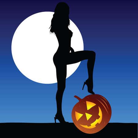 Moonlight lanterns: woman with halloween pumpkin vector on a moonlight