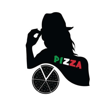 margherita: woman with pizza italian vector