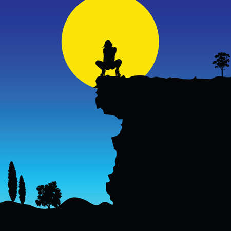 copy space: girl on cliff color vector silhouette in landscape