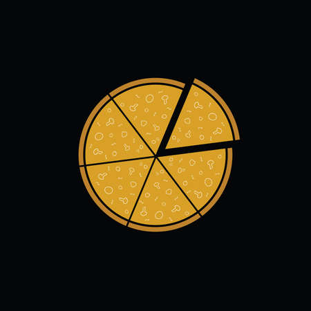 margherita: pizza on black background vector illustration