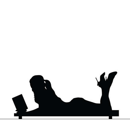 woman reading book: woman reading book silhouette