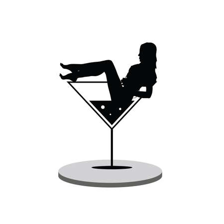 girl in martini on stage silhouette Illustration