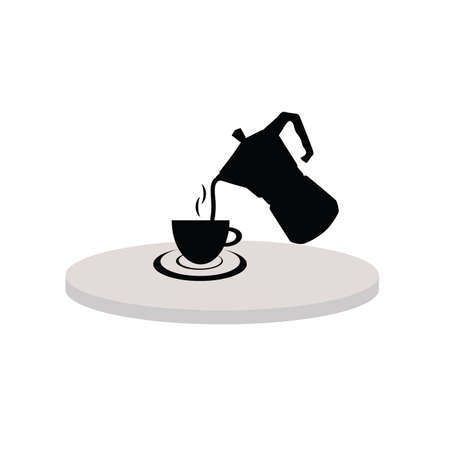 afternoon: cup of hot tea black silhouette Illustration
