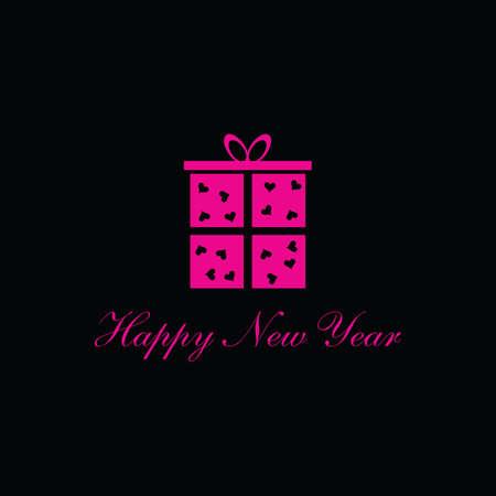 background next: happy new year box pink