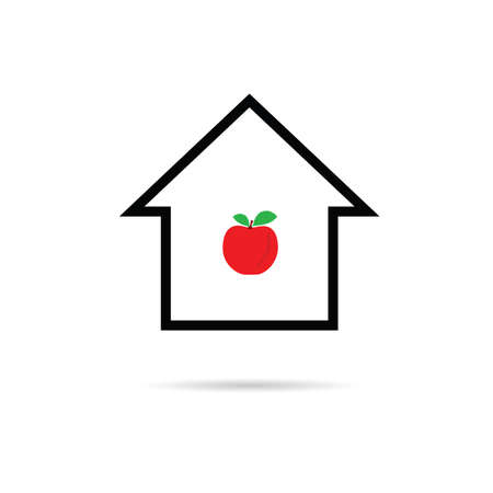 apple red: house cartoon with apple red