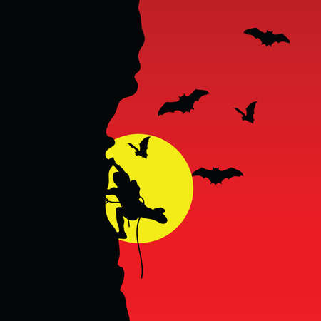 extremal: man on cliff with bat silhouette in colorful