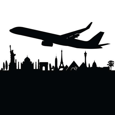 boeing: plane above the city black silhouette