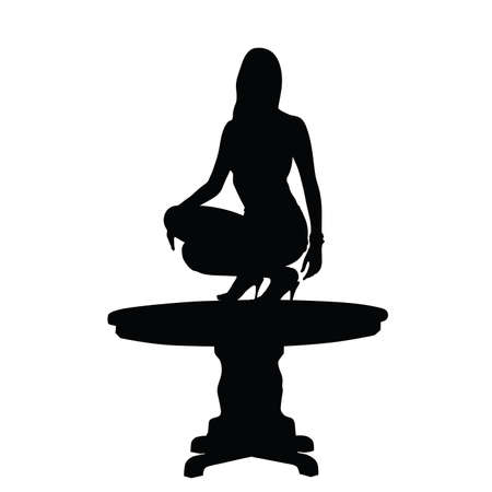 perfect body: woman on table black silhouette Illustration