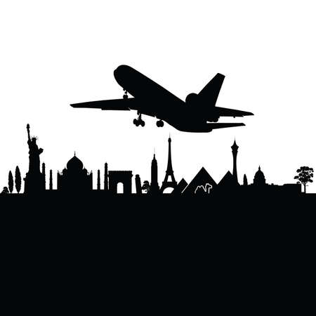 boeing: airplane above the city black travel vector silhouette