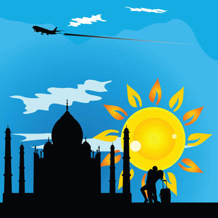 kathak: religious monument travel vector with couple in colorful