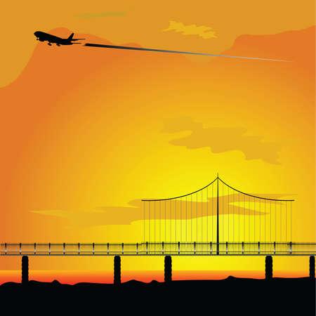 bridge in nature: bridge with airplane nature vector illustration