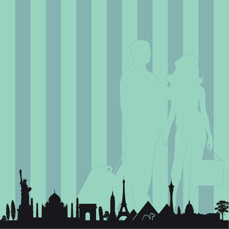 renaissance woman: famous monument with travel couple vector in colorful