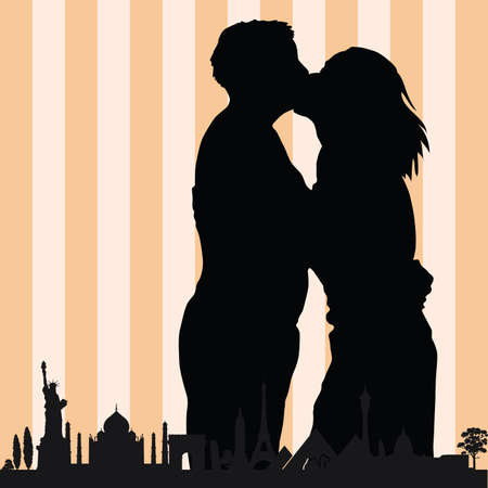 ancient civilization: couple with monument building vector in colorful illustration