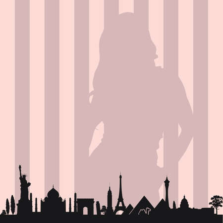 girl with monument architecture color vector silhouette