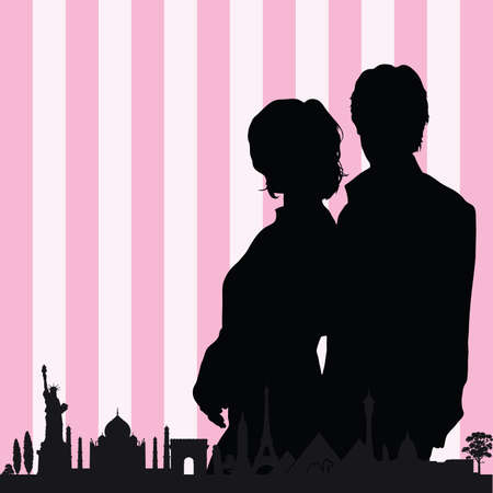 historic: couple with historic monument color vector silhouette