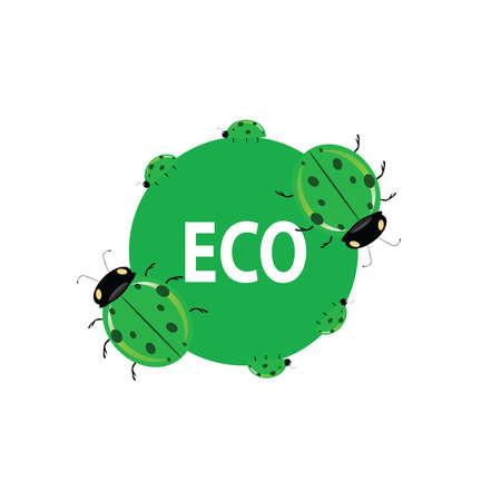 ladybug: ladybug green eco vector illustration