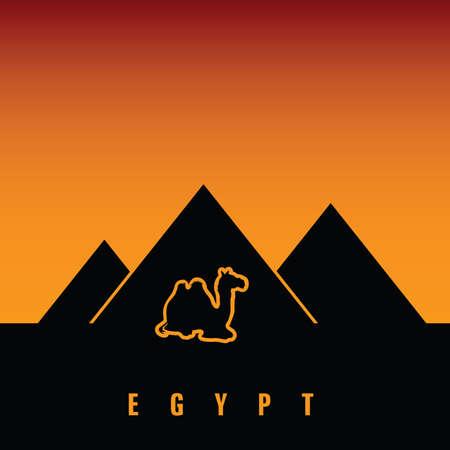 camel in desert: egypt vector with camel desert illustration