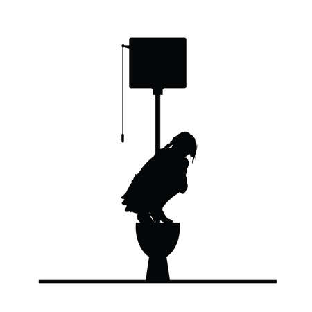 septic: woman on toilet vector silhouette illustration