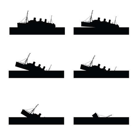 sinking: ship sinking set vector in black color Illustration
