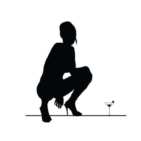 sensual: woman vector sensual silhouette art with martini glass
